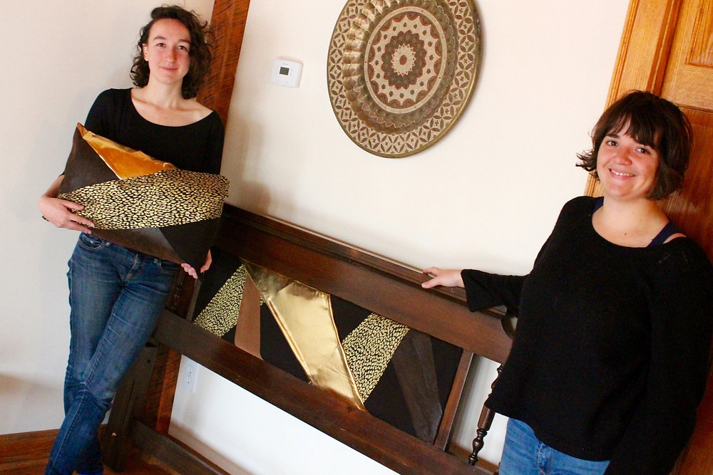 Safari hand sewn pillow and headboard made using some eco and reused materials