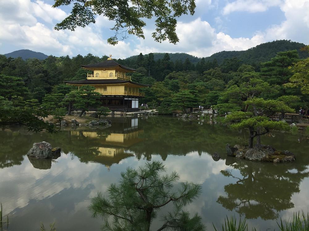The Golden Pagoda - Kinkaku-ji, Kyoto. The reflection case across the water.