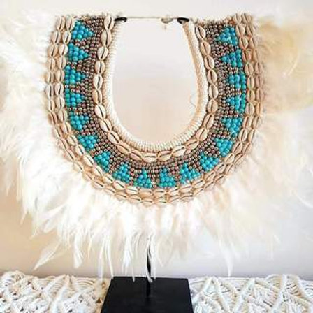 Papua Tribal Necklace White Feathers