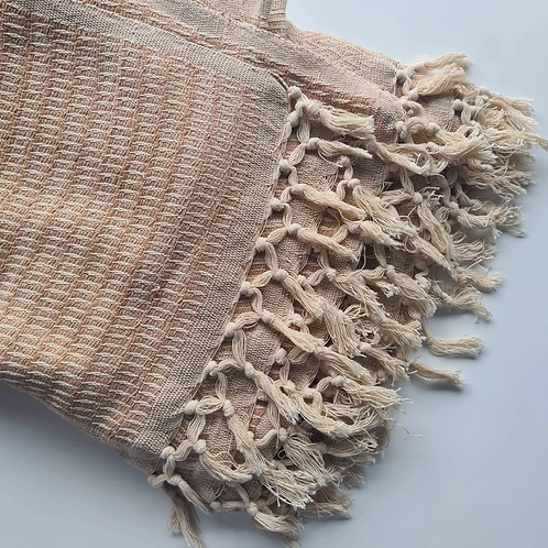 Hand Stitched Cotton Throw with Fringe