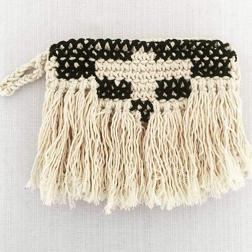 Crochet with Black Cross Stitch Clutch
