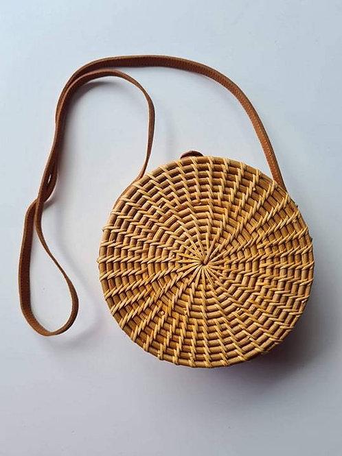 Rattan Round Natural Bag