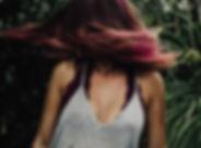 Girl with vivid bright haircolor.