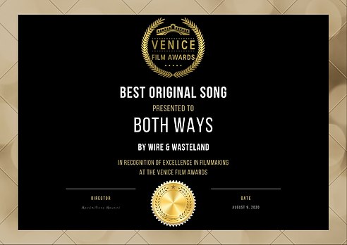 WINNER CERTIFICATE - BEST ORIGINAL SONG