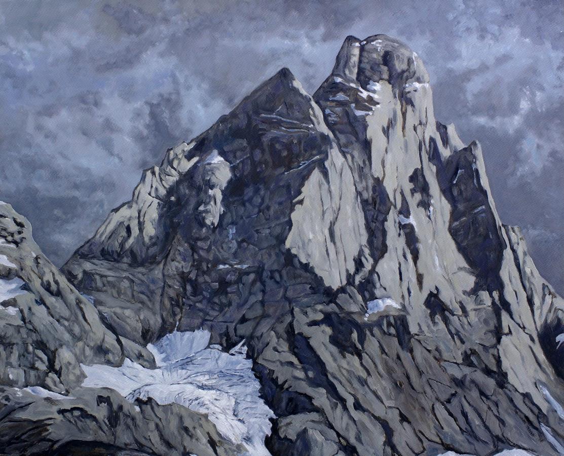 Quatre études du Cervin (face sud, ciel gris)
