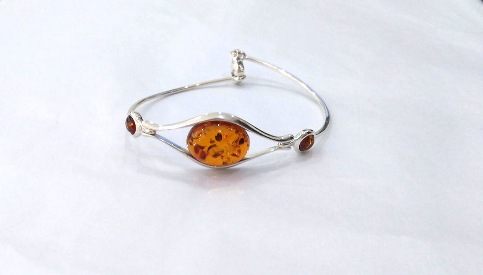 Amber & Sterling Silver Bangle