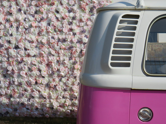Pink Bus & Flower wall