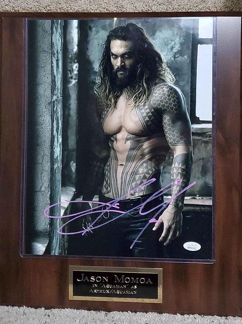 Autographed Jason Momoa on a Cherry plaque