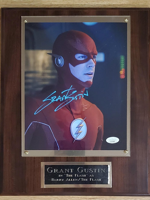 Autographed Grant Gustin Cherry Super Deluxe Plaque