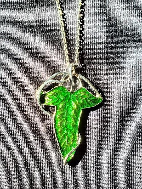 LOR Green Elven Leaf Necklace Silvered Colored
