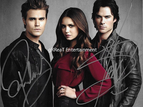 Vampire Diary Trio Autographed 10 in x 8 in. Photo