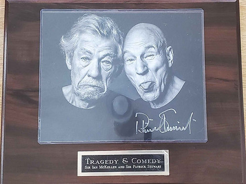Autographed Tragedy and Comedy on a Cherry Standard Plus Plaque