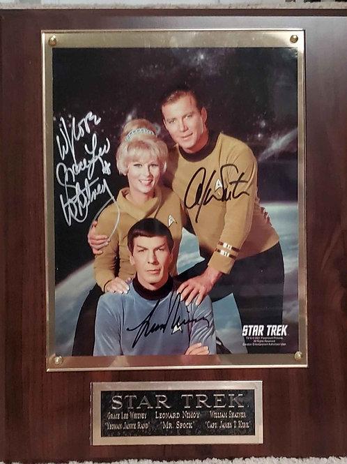 Autographed Star Trek Trio Cherry Deluxe Plaque