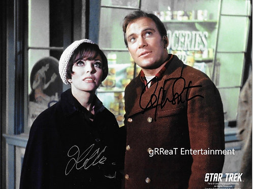 Joan Collins and William Shatner autographed 10 in x 8 in photo