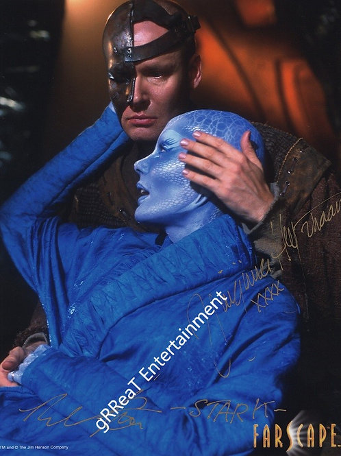 Virginia Hey and Paul Goddard autographed 8 in x 10 in photo