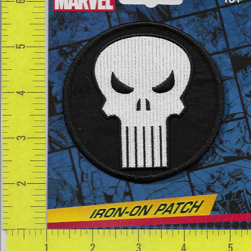 The Punisher LICENSED Logo Patch White on Black
