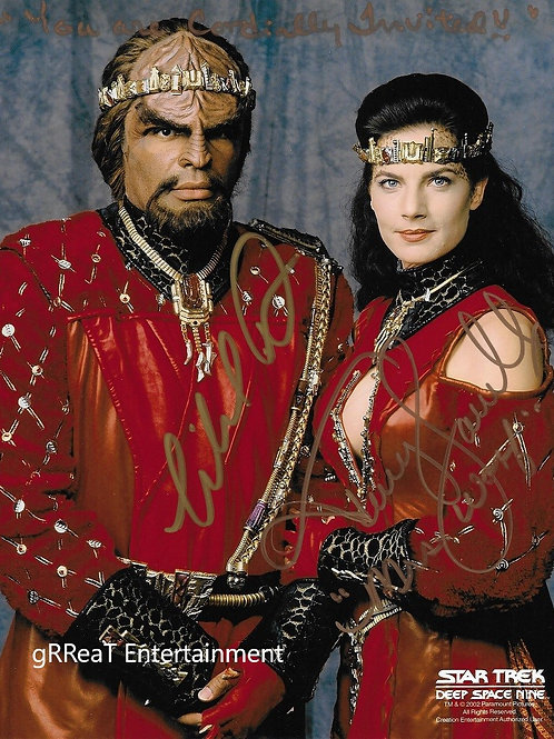 Michael Dorn and Terry Farrell autographed 8 in x 10 in photo