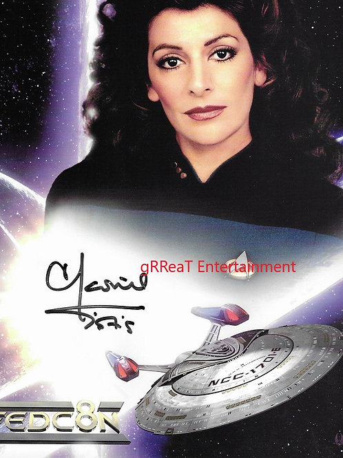 Marina Sirtis autographed 8.250 in x 10.5 in photo