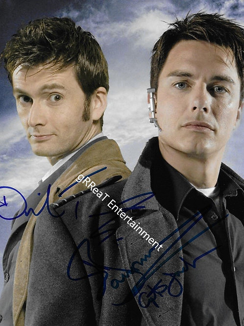 David Tennant and John Barrowman autographed 8 in x 10 in photo