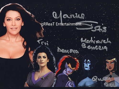 Marina Sirtis autographed 10 in x  8 in photo