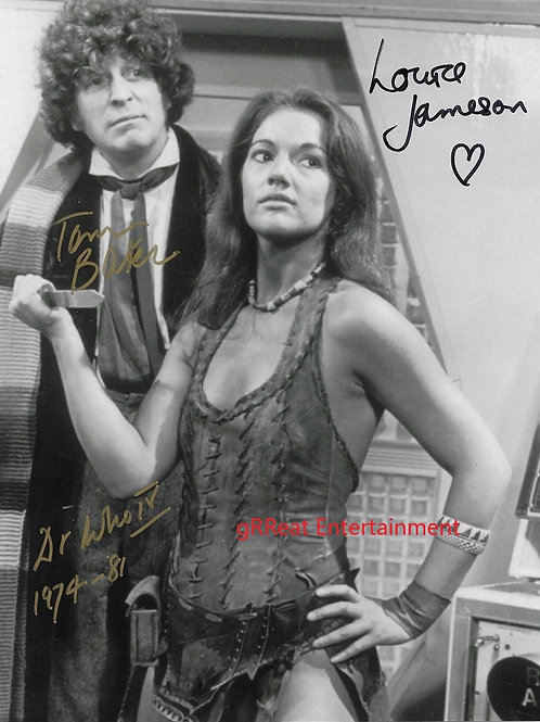 Tom Baker and Louise Jameson autographed 8 in x 10 in photo