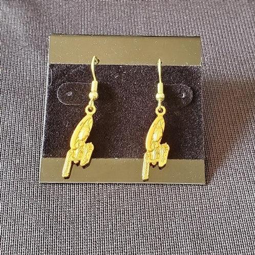 Star Trek: Enterprise 1701 Ship Gold Colored Earrings