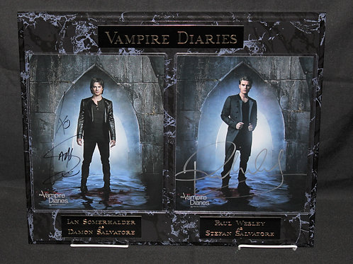 The Vampire Diaries autographed Doubles Black Marble Plaque