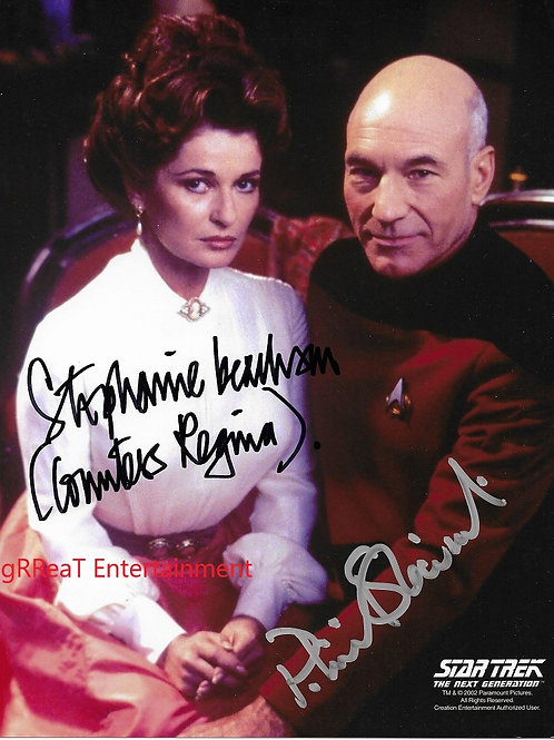 Stephanie Beacham and Patrick Stewart autographed 8 in x 10 in photo