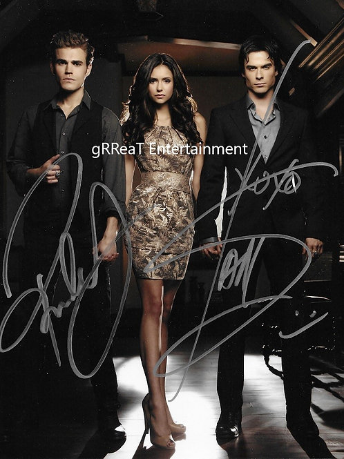 Vampire Diary Trio Autographed 8 in x 10 in. Photo