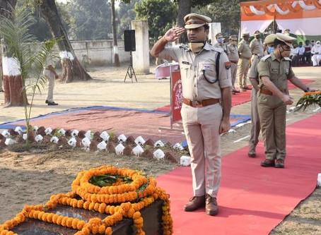 पुलिस स्मृति दिवस पर शहीदों को दी श्रद्धांजलि, एसएसपी ने पुष्प अर्पित कर शहीदों को किया नमन