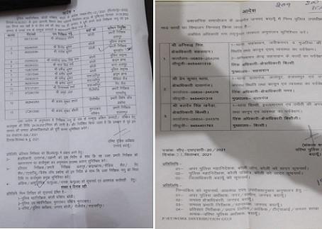 जिले में तैनात 13 इंस्पेक्टरों की गैर जिलों में रवानगी, एसएसपी ने की सूची जारी