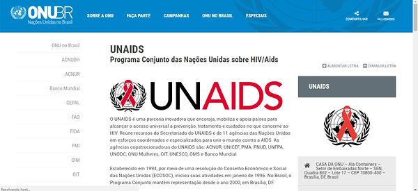 Print do site da ONU, fundo branco com detalhes em azul e o nome em preto e vermelho