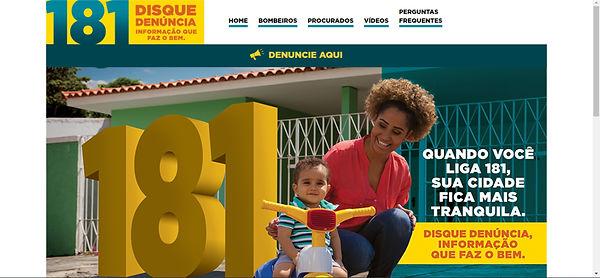 Print do site, imagem de uma mulher negra com uma criança negra e o número 181 atrás em amarelo