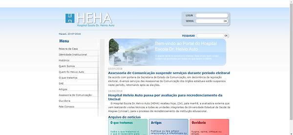 Print do site do HDT, fundo branco com detalhes em azul