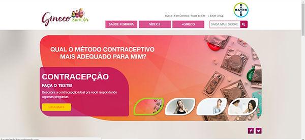 Print do site, imagem em tons de rosa, laranja claros, com preservativos