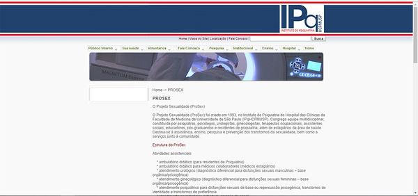Print do site, fundo branco com detalhes em azul e vermelho