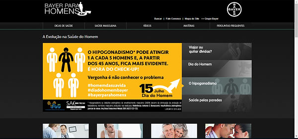 Print do site, imagem com fundo amarelo e preto e desenho humanos e algumas fotos com pessoas