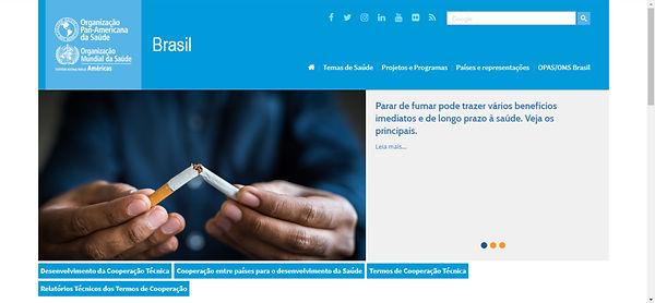 Print do site OMS, imagem de mãos segurando cigarro rasgado