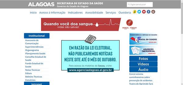 Print do site da secretaria de saúde com fundo branco, detalhes em azul e vermelho