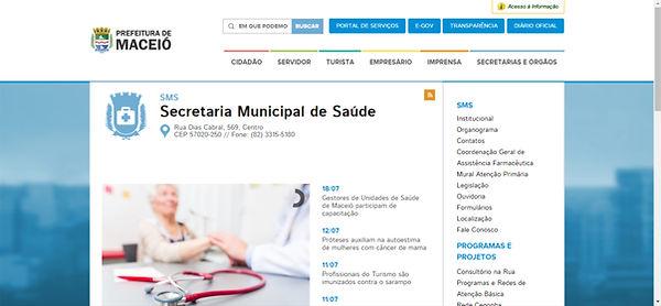 Print site secretaria de saude Maceio fundo branco com detalhes em azul