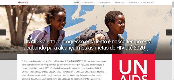 Print do site da UNAIDS fundo branco e imagem de duas crianças negras correndo