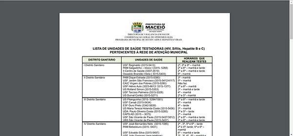 Print da lista das unidades de saúde, fundo branco, letras em preto