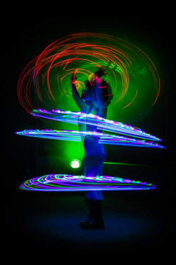 Seven glowing hoops