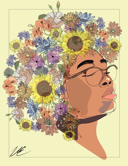 Bloom and Flourish, Black Women Print by Vanessa Evans