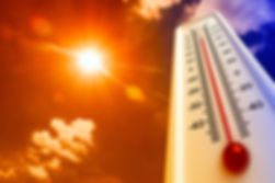 Heat, thermometer shows the temperature