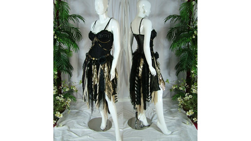 1285ab1cd742 Steampunk Gothic pagan prom wedding dress black gold tan sexy striking