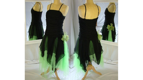 2977887503c6 Black lime green prom Gothic wedding dress altered tattered shabby cute  event