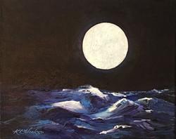 Moon Over Ocean Waves