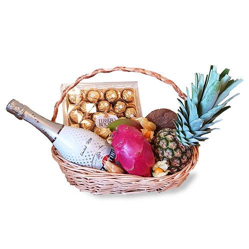 подарочная корзина экзотические фрукты мартини асти конфеты