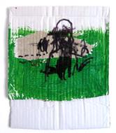 Grass  2021  Gouache, permanent marker, glue on cardboard
